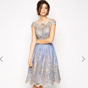 Chi Chi London ASOS exclusive metallic lace dress